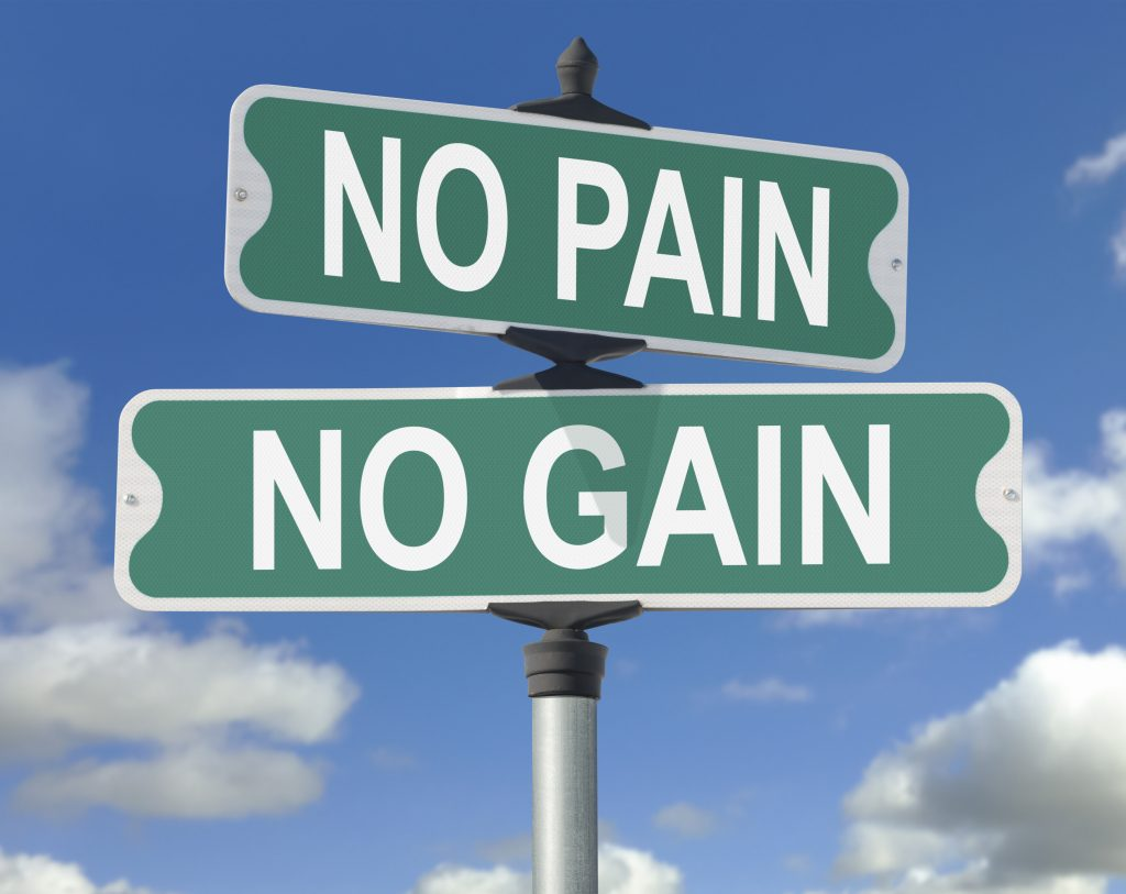 No Pain, No Gain Street Sign. This image is useful in any discussion of effort VS reward.